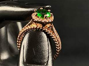 Costume Rose Gold Solitaire Emerald Ring