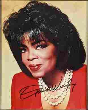Autographed Framed Oprah Winfrey Publicity Photo
