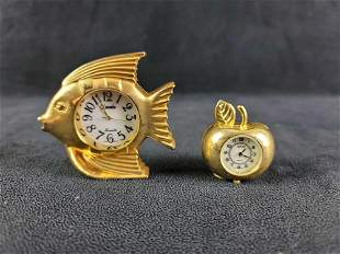 Fish and Apple Table Gold Tone Watch Clock
