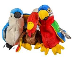 Three Bird Beanie Babies Parrot Turkey Blue Bird