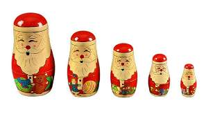 Handpainted Wooden Christmas Santa Claus Nesting Doll