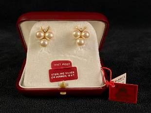 Vintage Majorca Spain Sterling Silver Pearl Earrings W/