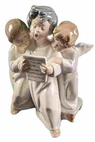 Lladro Children Angels Group Porcelain Figurine