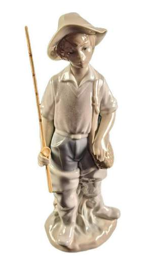 Retired Lladro Fisher Boy With Pole Porcelain Figurine