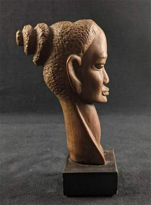 Wood Carved African Bust Sculpture