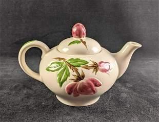 White Teapot with Floral Design Ceramic Teapot