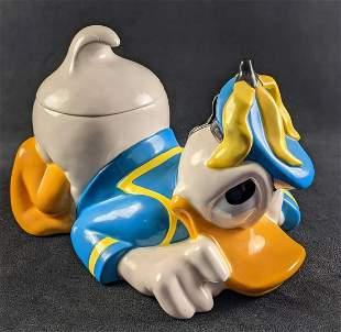 Ceramic Disney Grumpy Donald Duck Cookie Jar