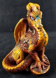 Retired Windstone Dragon Brown Turquoise And Gold