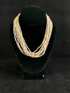 Vintage Multi Strand River Pearl Necklace