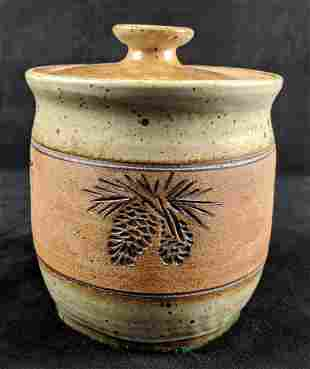 Hand Crafted Stoneware Storage Jar With Lid By