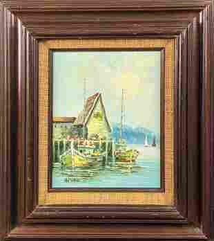 Vintage Original Oil On Panel Boats With Dock