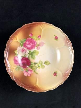 Ceramic Bowl Pink White Gold Brown Roses Flowers Shabby