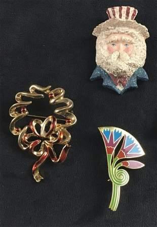Vintage Americana Uncle Sam Christmas Floral Brooch