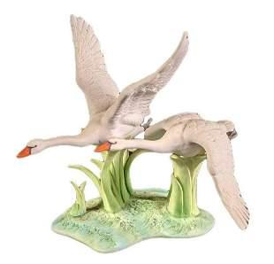 Andrea Sadek Double Swans Porcelain Figurine