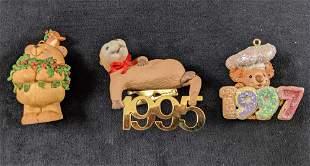 Set Of Three Cute Animal Ornaments Retired