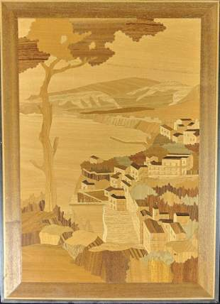 Inlaid Wood Picture Marquetry Inlay Tree Art T9