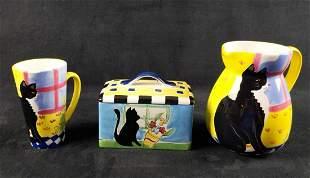 Ceramic Black Kitty Ceramic Kitchenware Lot Of 3