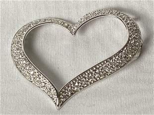 Large Sterling Silver CZ Heart Pendant Slide Charm