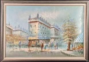 Original Acrylic On Canvas Parisian street scene