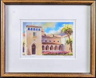 "Original Watercolor ""Olin Library"" Rollins College"