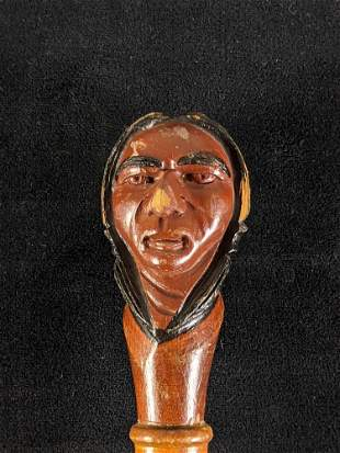 Wooden Cane Wood Carved Native American Head