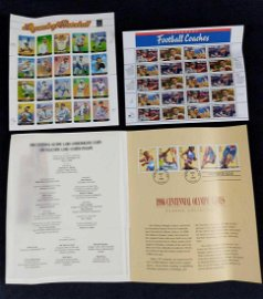 Sports Themed US Postal Stamps Football Baseball