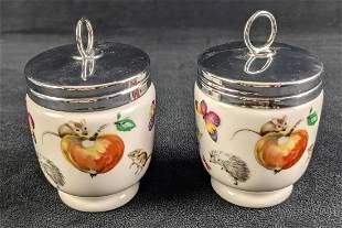 Two Vintage Royal Worcester Porcelain Egg Coddlers A