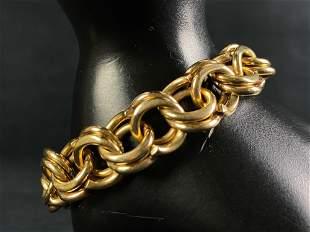 Vintage Solid 14K Gold Unique Triple Link 13MM Bracelet