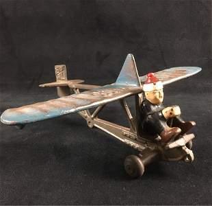 Rare Hubley Lindy Glider Cast Iron Toy Airplane Circa