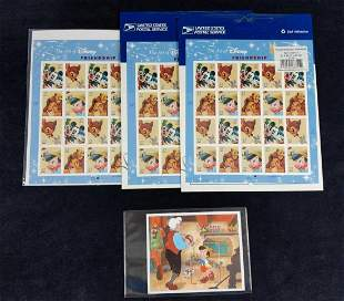 Four Disney Lion King Donald Duck Stamp Sheets
