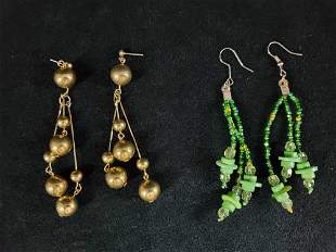 Vintage Multi Strand Dandle Earrings 2 Piece Lot