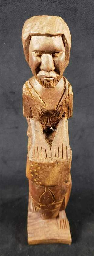 African Wooden Carved Drummer