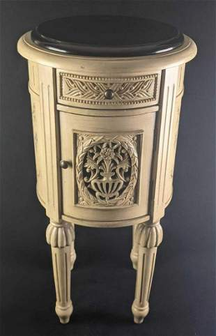 Vintage French Style Round Marble Top End Table