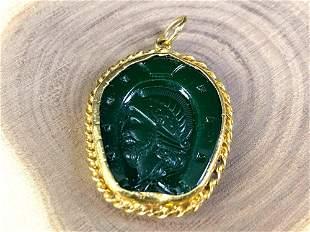 Antique 22K Intaglio Jade Cameo Medallion Pendant