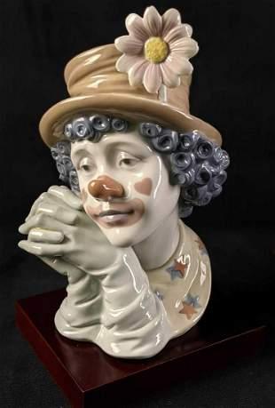 Retired Lladro Melancholy Clown Porcelain Figurine