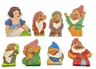 Hand Painted Wooden Disney Snow White 7 Dwarfs Cutouts
