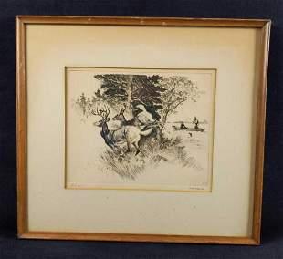Reinhold RH Palenske Signed Etching Deer In Woods