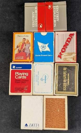 Ten Vintage Souvenir Playing Cards Coca Cola Airlines
