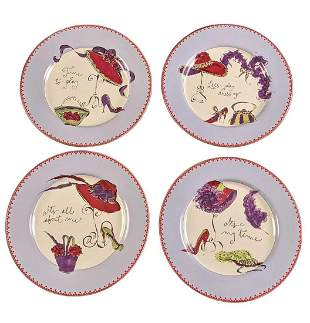 Rosanna The Red Hat Way Set Of Four Plates