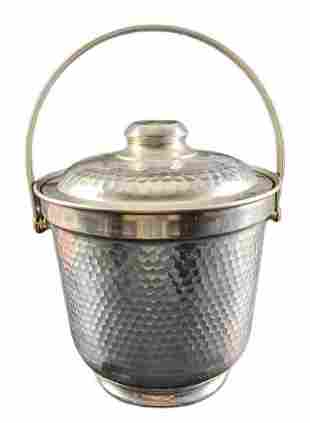 Vintage Hammered Aluminum Ice Bucket With Lid And