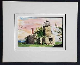 Watercolor Lighthouse Print Signed by Fulkerson