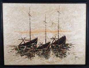 Large Vintage Acrylic Painting of 4 Boats by Marshall