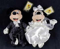 Retired Mickey And Minnie Groom And Bride Bean Bag
