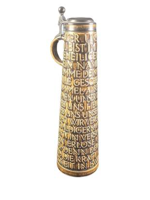 Tall Ceramic & Pewter German Beer Stein Lords Prayer