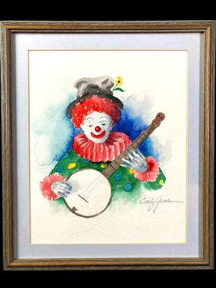 Clown Watercolor by Emily James