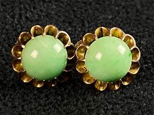 Antique 10K Gold Jade Button Stud Screw Back Earrings
