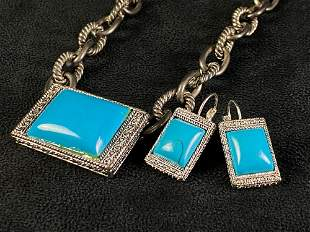 Vintage Silver Plated Turquoise Tiffany Style Necklace