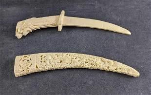 Bone Ivory Knife Faux Ivory Dagger