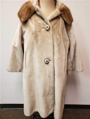 Modelia Full Length Fur Coat with Mink Fur Collar