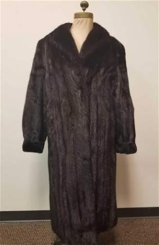 Dark Brown Full Length Mink Fur Coat